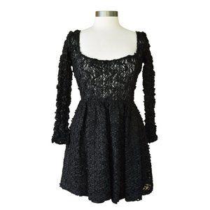 ANNA SUI Vintage 90s Black Lace Babydoll Dress